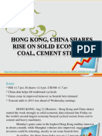 Hong Kong, China Shares Rise on Solid Econ Data; Coal, Cement Strong