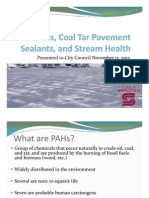 PAHs, Coal Tar Pavement Sealants and Stream Health Presentation