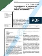 NBR 14.323 - 1999 - Dimensionamento de estruturas de aço de edifícios em situação de incêndio - Procedimento