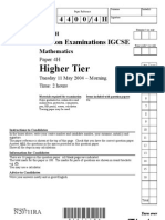 IGCSE Mathematics 4400 May 2004 Question Paper and Mark Scheme Paper 4H N20711