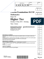 IGCSE Mathematics 4400 May 2004 Question Paper and Mark Scheme Paper 3H N20710