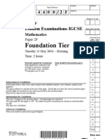 IGCSE Mathematics 4400 May 2004 Question Paper and Mark Scheme Paper 2F N20709