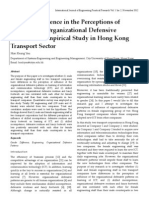 Gender Difference in the Perceptions of Influence of Organizational Defensive Patterns