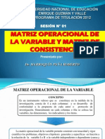 Modelo de Operacionalizacion de Variables y Matriz de Consistencia