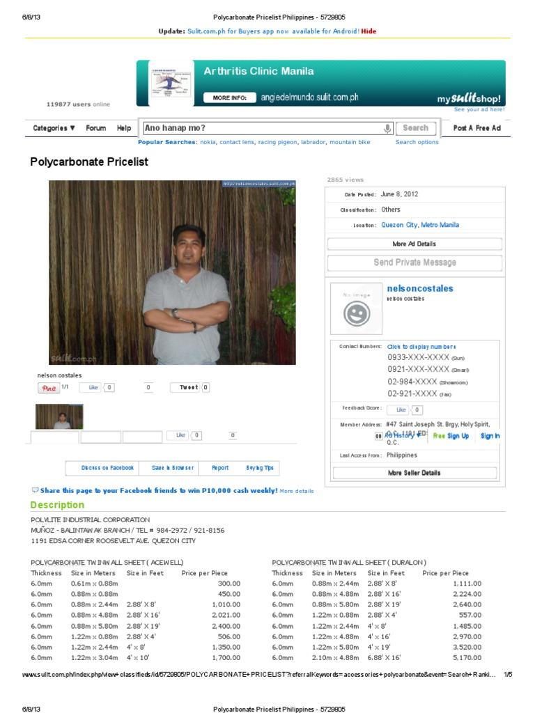 Polycarbonate Pricelist Philippines 5729805
