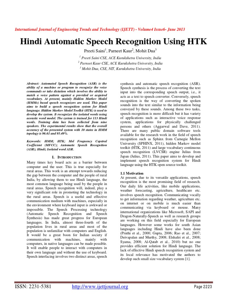 Hindi Automatic Speech Recognition Using HTK | Speech Recognition