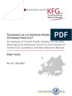 Tolerance as a European Norm or an Ottoman Practice? An Analysis of Turkish Public Debates on the (Re)Opening of an Armenian Church in the Context of Turkey's EU Candidacy and Neo-Ottoman Revival
