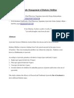 Ayurvedic Management of Diabetes Mellitus