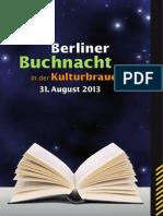 Berliner Buchnach 2013 - Programmheft