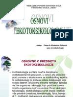 Osnovi Ekotoksikologije I Deo