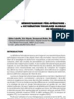 Hémodynamique péri-opératoire - oxygénation tissulaire globale ou régionale