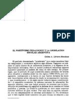Mendoza Positivismo pedagógico y legislación escolar