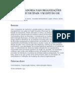 A CONTROLADORIA NAS ORGANIZAÇÕES PÚBLICAS MUNICIPAIS