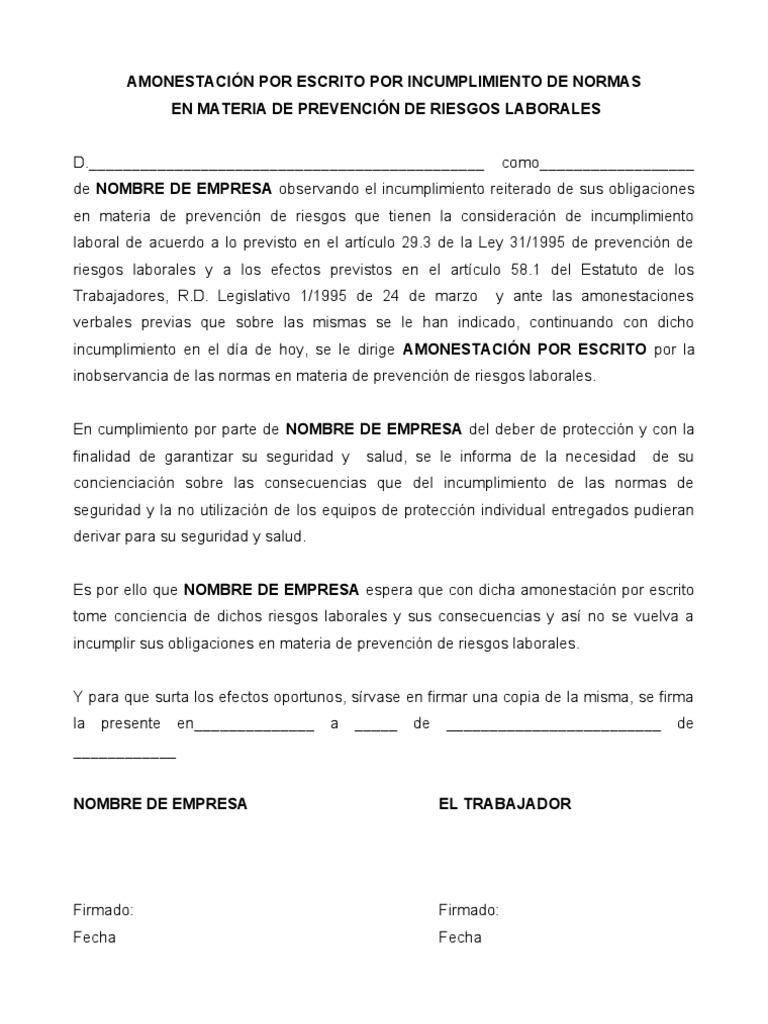 Fantástico Plantilla De Advertencia Escrita Molde - Ejemplo De ...