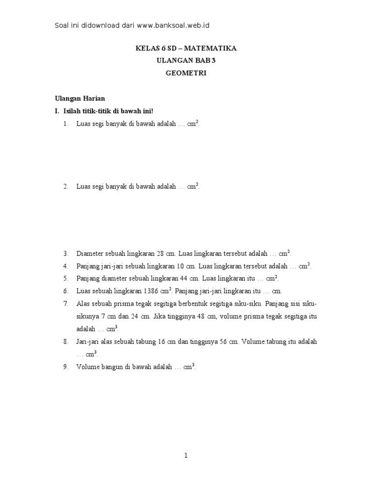 Kunci Jawaban Matematika Kls 6 Bab 3 Geometri Guru Galeri