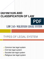 Definition and classification of law