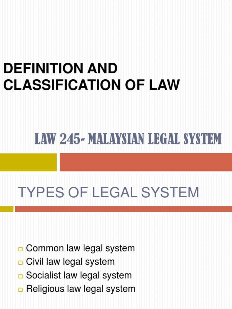 definition and classification of law | sources of law | sharia