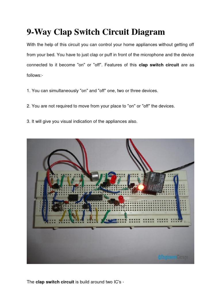 9 way clap switch!!.docx | Electronic Circuits | Digital Electronics