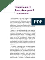 Discurso en el parlamento español