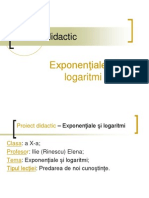 Proiect Didactic Functia Exponentiala