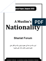 A Muslim's Nationality [Shariat Forum - Research Paper Aug 2013]