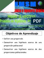 PRUEBA DE HIPOTESIS - PARA UNA Y DOS PROPORCIONES POBLACIONALES