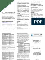 Folder seleção PPGEL - 2013