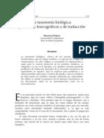 taxonomía biológica problemas lexicográficos