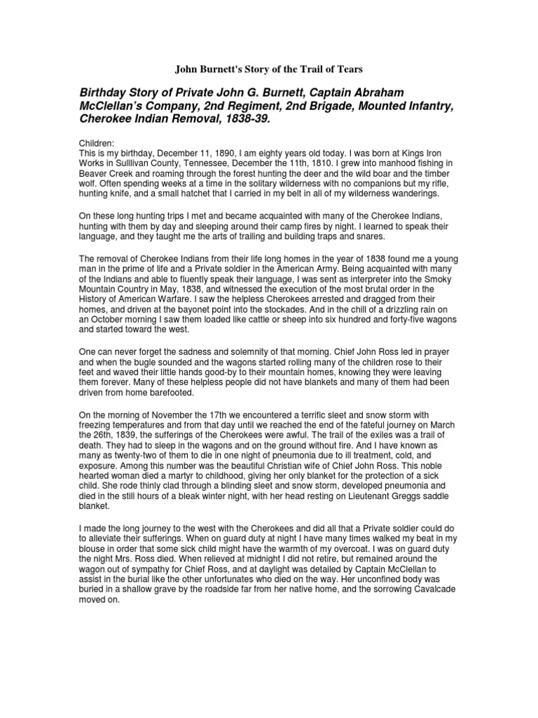 Trail of Tears Primary Source John G  Burnett | Cherokee | Trail Of