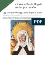 Las 15 Oraciones a Santa Brigida  para recitar por un año