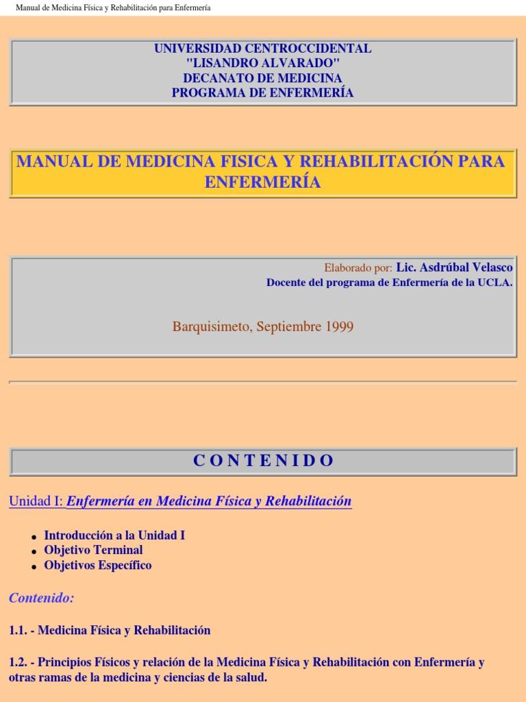 Manual de Medicina Fisica y Rehabilitacion Para Enfermeria