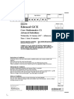 Edexcel GCE Core 2 Mathematics C2 advanced subsidary jan 2007 6664/01 question paper
