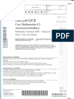 Edexcel GCE Core 2 Mathematics C2 advanced subsidary jan 2008 6664/01 question paper