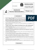 Prova 2 - Assistente Técnico-Administrativo - ESAF 2009