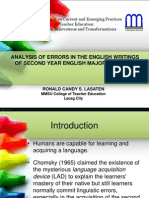 Analysis of Errors in the English Writings of  Second Year English Major Students