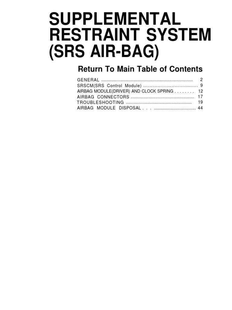 SRS airbag (Supplemental Restraint System airbag)