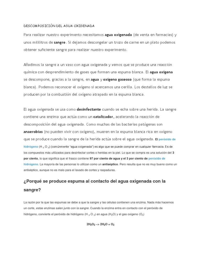 DESCOMPOSICIÓN DEL AGUA OXIGENADA CON SANGRE