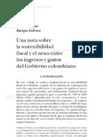 Una Nota Sobre La Sostenibilidad Fiscal y El Nexo Entre Los Ingresos y Gastos Del Gobierno Colombiano Monetaria 33-2-227 238 2010 CONTENIDO