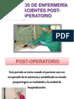 CUIDADOS DE ENFERMERÍA EN PACIENTES POST-OPERATORIO