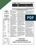 Shabbat Announcements, June 6, 2009