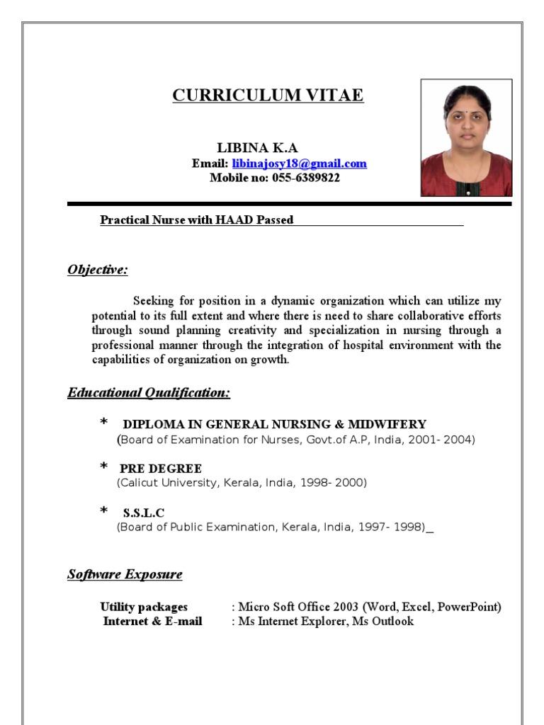 Updated Curriculum Vitae Libina Nursing Hospital