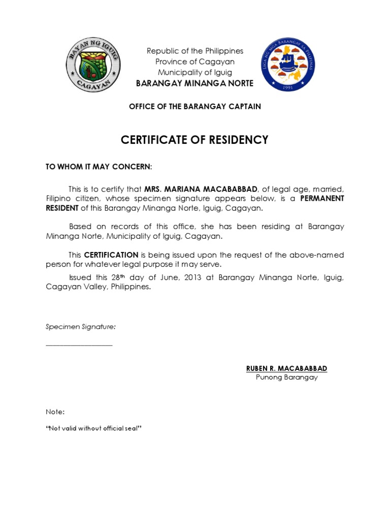 residency certificate