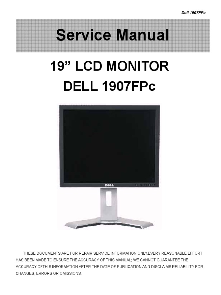 dell 1907fpc service manual pdf computer monitor electrical rh scribd com monitor dell 19 manual dell ultrasharp 1905fp 19 lcd monitor manual