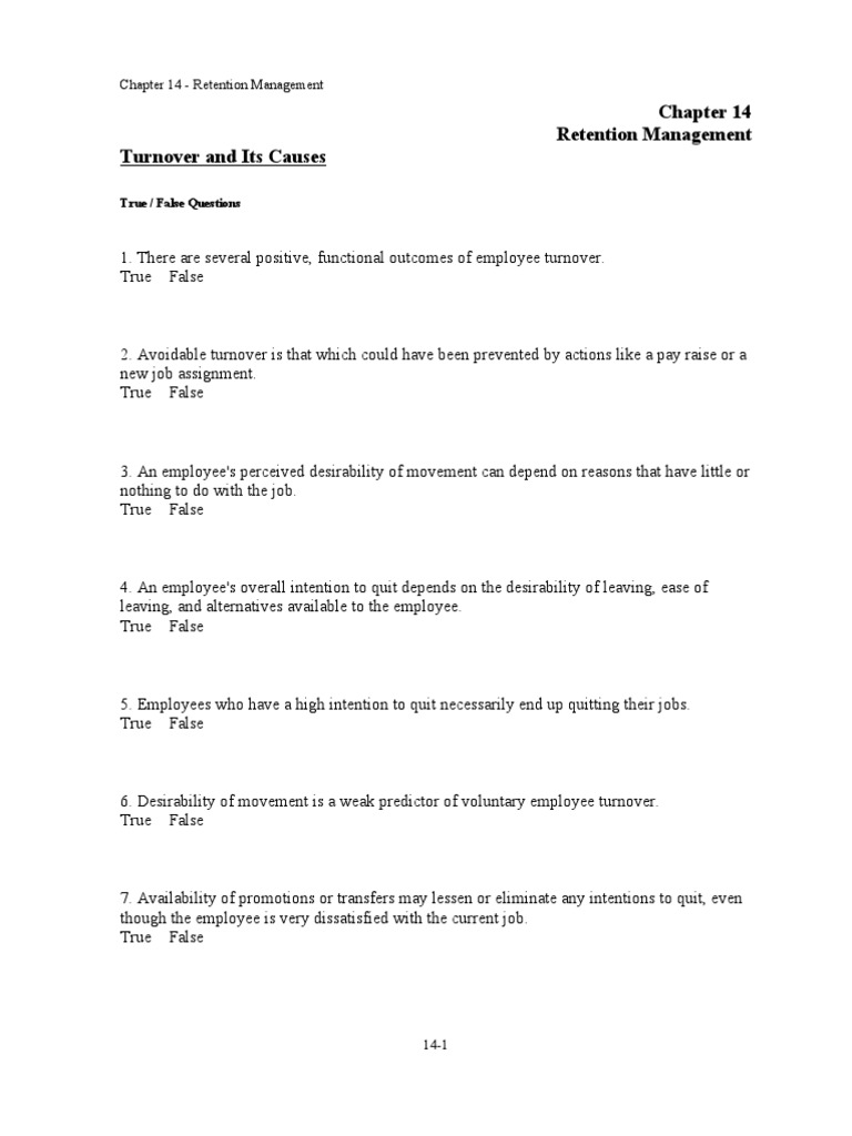 chap 014 turnover employment employee retention