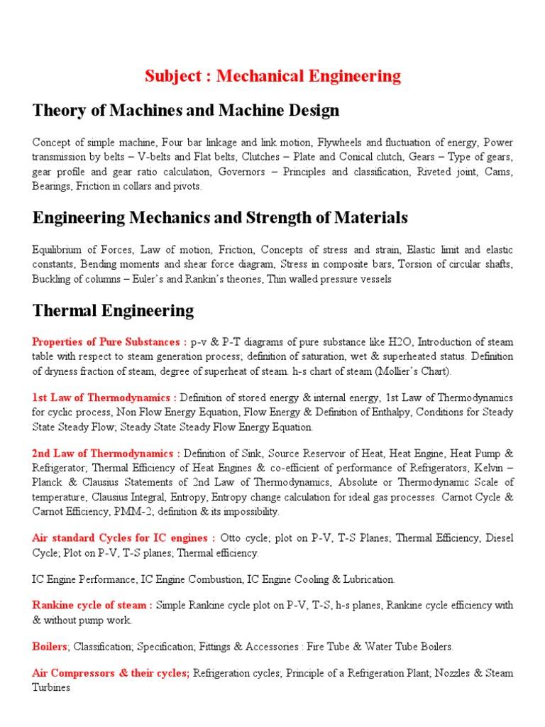 Syllabus Ssc Cgl Fci Govt Exam Thermodynamics Fluid Mechanics Heat Engine Pv Diagram Ideal Gas