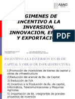 Regimenes de Incentivo a La Inversion, Innovacion