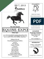 SANDRIDGE SADDLERY EQUINE EXPO! SATURDAY, SEPTEMBER 7, 2013 10-4PM