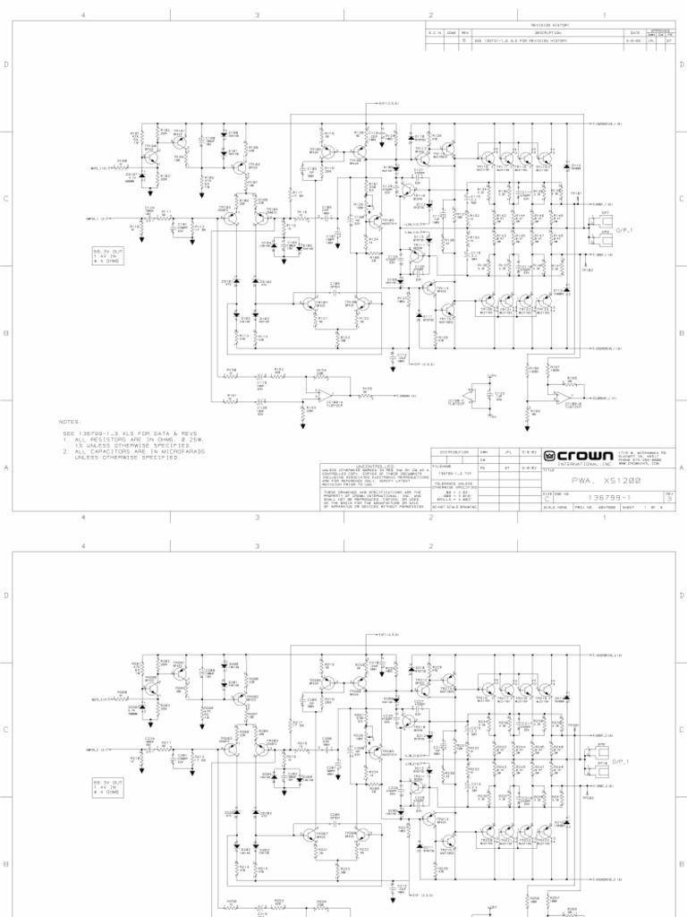 Amplifier Crown Xs1200 Schematics