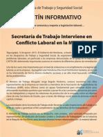 Honduras Ministry of Labor Communique Regarding Investigation at Kyungshin-Lear