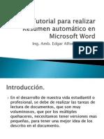 Tutorial para realizar Resumen automático en Microsoft Word